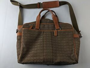 Coach F70058 Brown Signature Canvas Soft Side Briefcase Messenger Bag Outdoor