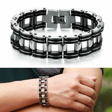 Fashion Men Silver Cross Stainless Steel Black Rubber Bracelet Bangle Wristband
