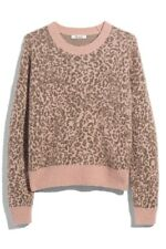 NWT Madewell Women's Leopard Print Crew Neck Pullover Sweater Top Size XL NEW