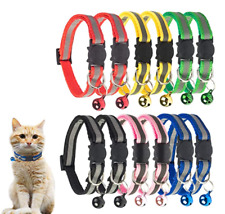 New listing Breakaway Cat Collar with Bell, Mixed Colors Reflective Cat Collars (12pcs/Set)