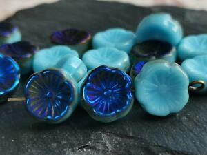 Czech glass hawaiian flower blue beads 12 mm pack of 6