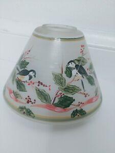 Yankee Candle Glass Lamp Shade Chickadee birds Christmas Holiday Large
