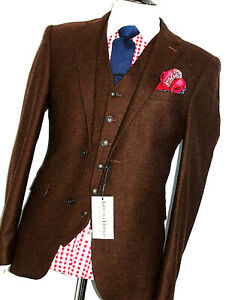 BNWT MENS GIEVES & HAWKES SAVILE ROW DONEGAL TWEED 3 PIECE SUIT 38R W32 X L32
