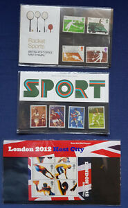 Great Britain stamps - 3 sports stamp packs 1977, 1980, 2012 Olympics, MUH