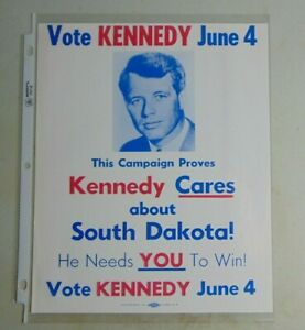 Robert F. Kennedy RFK 1968 South Dakota poster campaign political