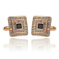 New Fashion Men's Cufflinks Square With Crystal Diamond Cuff Links Gift 1 Pair