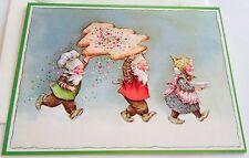 Unused Vtg Christmas Card Pixies Carrying Huge Cookie
