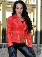 Lackjacke Lack Jacke Rot Biker-Style Glänzend Vinyl Maßanfertigung