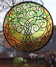Stunning  Stained Glass Look Sacred TREE OF LIFE Hanging SUNCATCHER,, Celtic