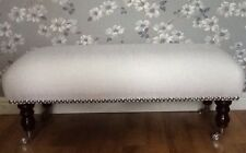 A Quality Long Footstool In Laura Ashley New Dalton White Fabric