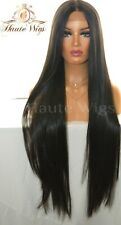 XXX LONG 40 INCHES LACE FRONT WIG OMBRE BLACK HUMAN HAIR FULL KIM KARDASHIAN