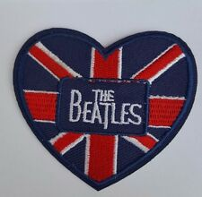 The Beatles Union Jack Heart Iron on sew On patch transfer fancy dress