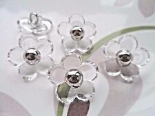 30pcs Clear Silver Daisy Buttons Novelty Theme Electroplate Sew Card Making 18mm