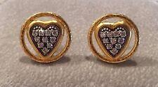 "GURHAN 24K Gold Pave Diamond Earrings ""Moonstruck"" Hearts Ret $5750 Trunk Show"