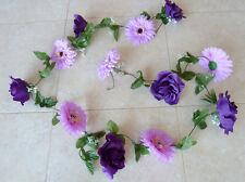 Rosen-Gerberagirlande lila ca  250 cm Kunstblumen -Seidenblumen
