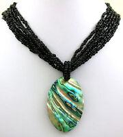 Natural Paua Abalone Shell Pendant Beads Necklace Handmade Women Jewelry EA375