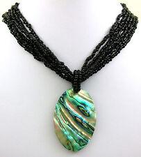 "Handmade 2.2"" Oval Paua Abalone Shell Beads necklace 18"" length ; EA375"