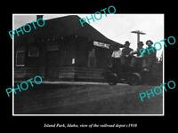 OLD LARGE HISTORIC PHOTO ISLAND PARK IDAHO THE RAILROAD DEPOT c1910