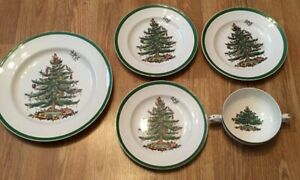Spode Replacement Christmas Tree Dishes Dinner Dessert salad plates 2 eared bowl