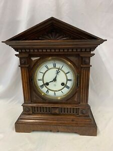 Antique Mahogany Mantle Clock, Roman Dial Signed Junghans In Architectural Case