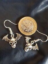 HALLOWEEN Tibetan Silver Bat Skull with wings Earrings GOTHIC EMO PUNK