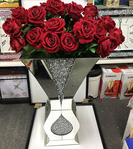 VASE Crushed Diamond Sparkly Silver Mirrored Floor Vase diamantê XL 70CM ✨