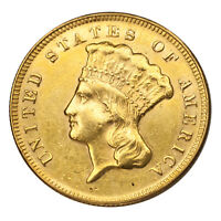 1874 $3 Gold Indian Princess Cleaned, Ex-Jewelry AU Details Coin