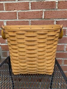 Longaberger Small Oval Waste Basket with Protector, dated 2000