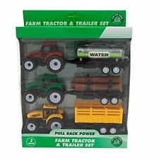 3 Piece Plastic Tractor Trailers Farm Vehicles Toy Play Set New
