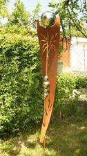 Gartendeko Rost Stab Sonne mit 6 Edelstahlkugeln Eisen Skulptur
