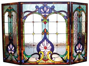 """44"""" W Royal Victorian Style Stained Glass 3 PC Fireplace Screen Decor"""
