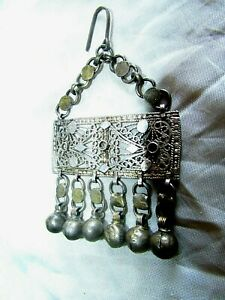 Antique Silver Earrings ethnic tribal bedouin gypsy Islamic Egyptian Zar