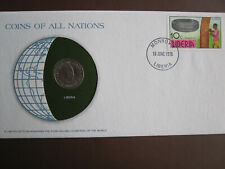 Liberia 1978 COINS OF ALL NATIONS cover with 25c coin + stamp
