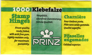 PRINZ 1000 pre-folded peelable stamp hinges finest German quality, GREAT PRICE!