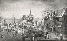 D0214 Breughel il vecchio - Una festa sul ghiaccio - Stampa d'epoca - 1926 print