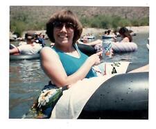 Vintage Photo 1970's Woman Tubing Holding Pepsi Free Can, Found Art,, Jun17