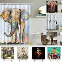 Waterproof Polyester Fabric Bathroom Shower Curtain with 12 Hooks 180cm x 180cm