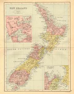 NEW ZEALAND. Showing 1870 provinces. Auckland environs. BARTHOLOMEW 1876 map