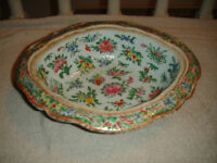 Antique Chinese Japanese Serving Bowl Rectangular Scalloped Floral Famille Rose