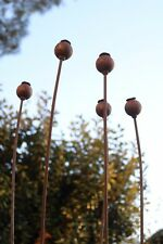 Set of 5 Metal Poppy Seed Heads Garden Rusted Stake Plant Supports. 1.42 metres