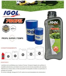 1 Litre Huile Igol Profive Super 2T Lubrifiant Semi-Synthèse Motoculture