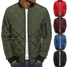 Men Warm Bomber Jacket Plaid Puffer Winter Coat Casual Zip Up Outwear Solid Top