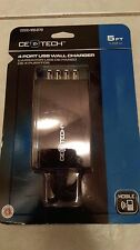 CE Tech 4 Port USB Rapid Wall Charger For All Mobile Phones & Chargers 5Ft Cable