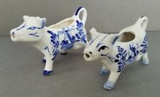 Set of 2 Delft Blue & White Porcelain Cow Creamers Windmill Flower Holland MINT