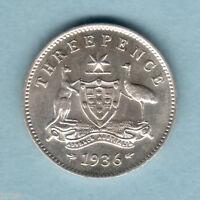 Australia . 1936 Threepence... Full Lustre - aU/UNC