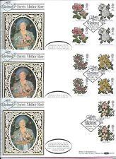 1991 BENHAM BLCS66 Set of 3 FDC's - QUEEN MOTHER ROSE Gutter Pairs THE GARDENER