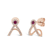 0.22 tcw 14k Rose Gold Natural Real Round Ruby Diamond Stud Cuff Drop Earrings