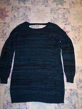BCBG Generation sweater dress, misses size L, blue & black knit, long sleeve