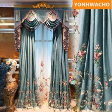thicken Velvet Embroidered Green European cloth blackout curtain valance B241