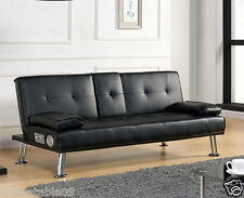 Sofa Bed Faux Leather Cupholder 3 Seater USB Bluetooth Cinema Speaker Unit New
